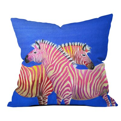 Clara Nilles Diva Zebras Outdoor Throw Pillow Size: 16 H x 16 W