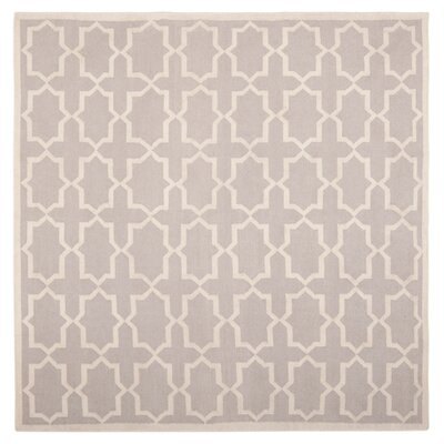 Dhurries Purple/Ivory Area Rug Rug Size: 6 x 6