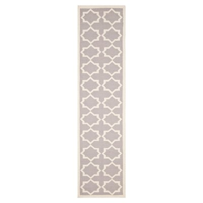 Dhurries Purple/Ivory Area Rug Rug Size: Runner 26 x 12
