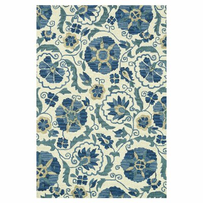 Keffer Hand-Hooked Ivory/Blue Area Rug Rug Size: Rectangle 5 x 76