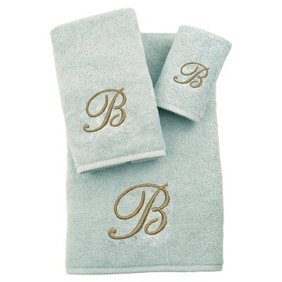 3-Piece Personalized Soft Twist Towel Set in Aqua