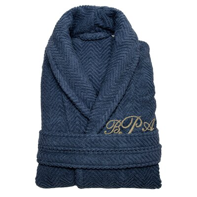 Personalized Large/Extra Large Herringbone Bathrobe in Midnight
