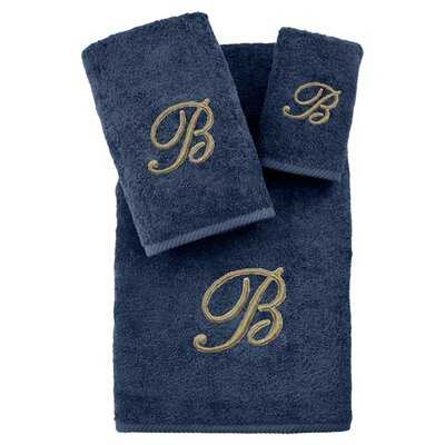 3-Piece Personalized Soft Twist Towel Set in Midnight