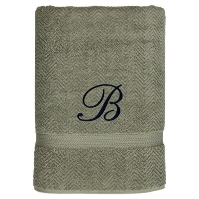 Personalized Herringbone Bath Sheet in Light Olive