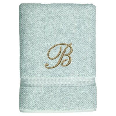 Personalized Herringbone Bath Sheet in Aqua