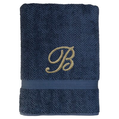 Personalized Herringbone Bath Sheet in Midnight