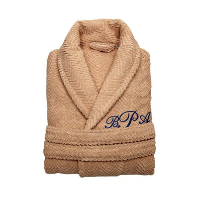 Personalized Small/Medium Herringbone Bathrobe in Warm Sand