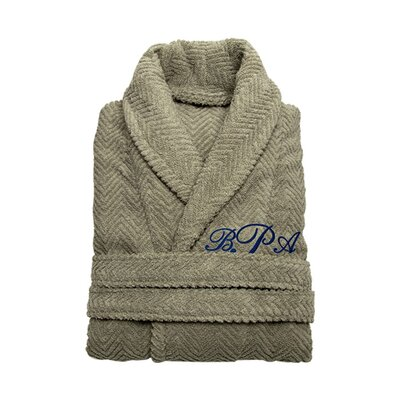 Personalized Small/Medium Herringbone Bathrobe in Light Olive