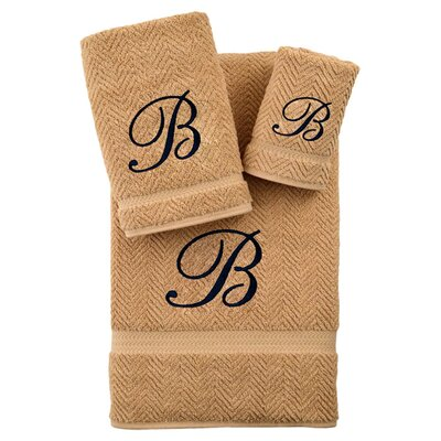 3-Piece Personalized Herringbone Towel Set in Warm Sand