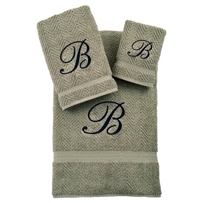 3-Piece Personalized Herringbone Towel Set in Light Olive