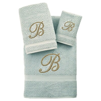 3-Piece Personalized Herringbone Towel Set