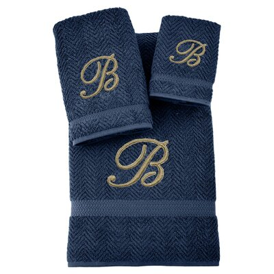 3-Piece Personalized Herringbone Towel Set in Midnight