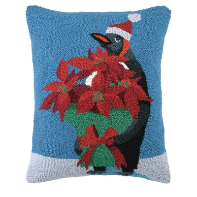 Penguin Poinsettia Lumbar Pillow