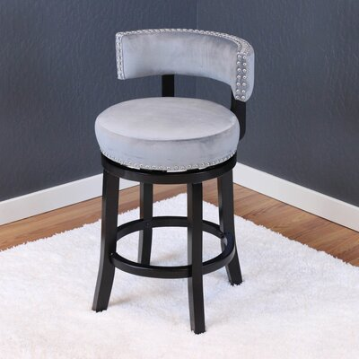 Tomoe 25 Swivel Bar Stool Upholstery: Sharkfin Gray