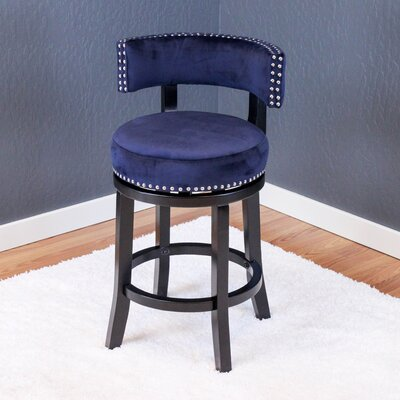 Tomoe 25 Swivel Bar Stool Upholstery: Ink Navy