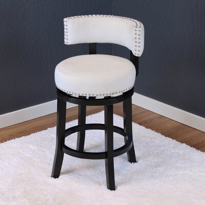 Tomoe 25 Swivel Bar Stool Upholstery: White