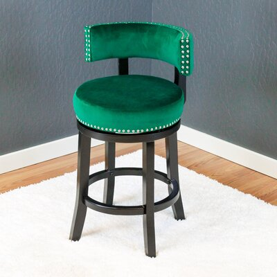 Tomoe 25 Swivel Bar Stool Upholstery: Emerald Green