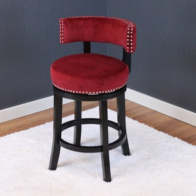 Tomoe 25 Swivel Bar Stool Upholstery: Deep Red