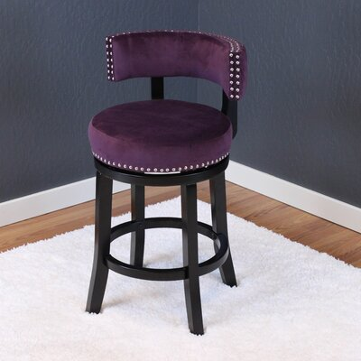 Tomoe 25 Swivel Bar Stool Upholstery: Plum Wine