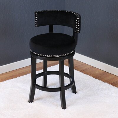 Tomoe 25 Swivel Bar Stool Upholstery: Black