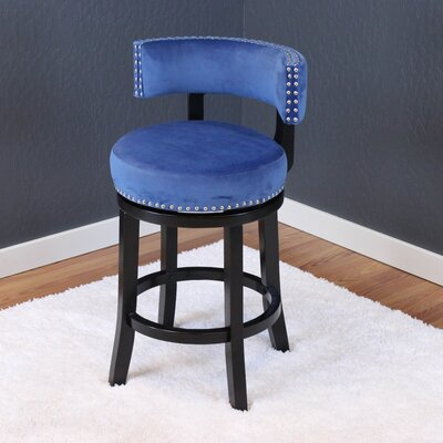 Tomoe 25 Swivel Bar Stool Upholstery: Sky Blue