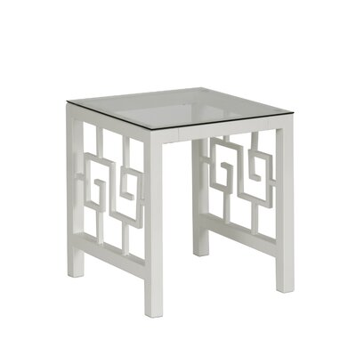 Greek Key End Table Color: Marshmallow White