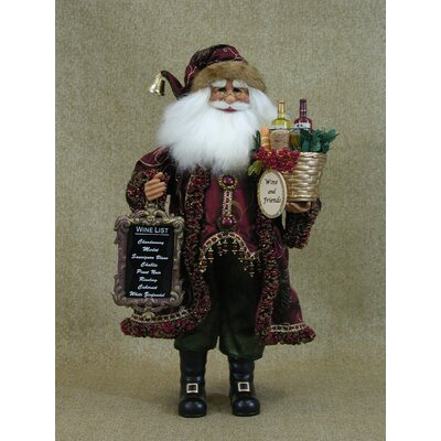 "Buy holiday wine gift baskets - ""Crakewood Wine Gift Basket Santa Claus Figurine\"""