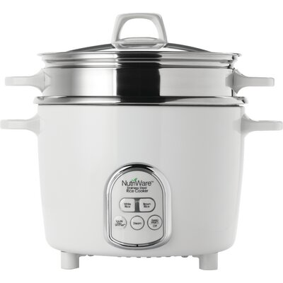 NutriWare Pot Style Digital Rice Cooker with Exposed Steam Tray NRC-687SD-1SG