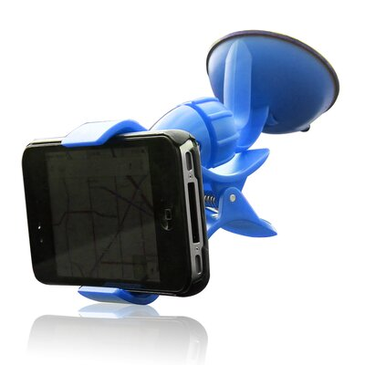 Easy Mount Suction Universal Car Phone Mount Finish: Blue