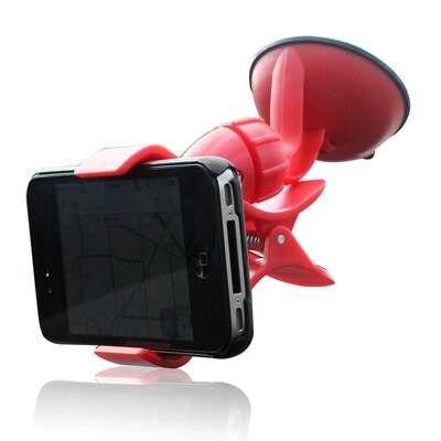 Easy Mount Suction Universal Car Phone Mount Finish: Red