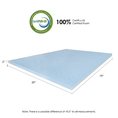 2 Gel Infused Foam Mattress Topper Size: Queen