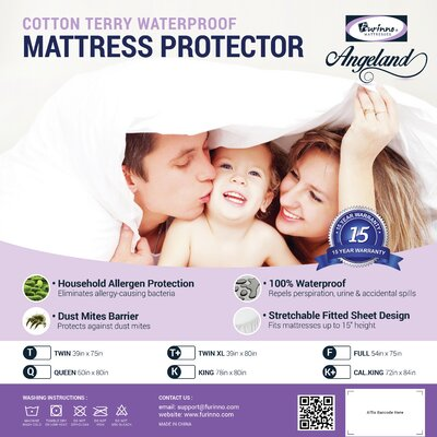 Angeland Terry Cloth Hypoallergenic Waterproof Mattress Protector MP15005TX
