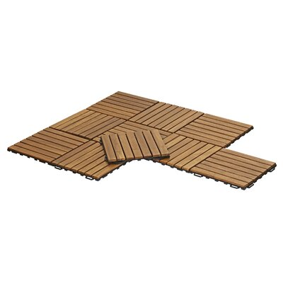 Tioman Outdoor Floor 11.8 x 11.8 Wood Interlocking Deck Tiles in Honey Oak