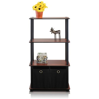 FURINNO 4 Tier Shelf Storage Shelves Cabinet Bookcase - Finish: Dark Cherry / Black at Sears.com