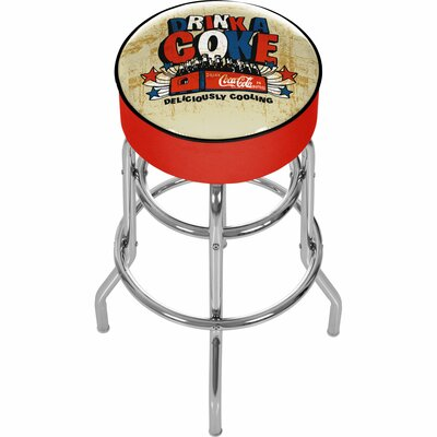 Coca Cola 31 Swivel Bar Stool Upholstery: Ivory/Red