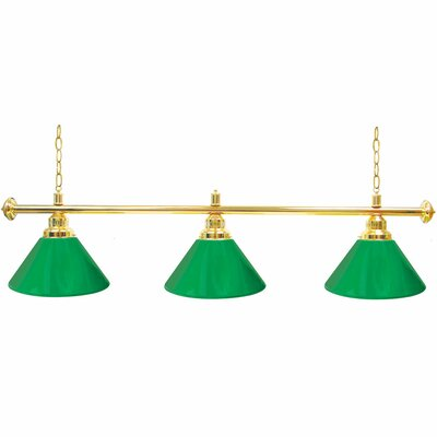 Premium 3-Light Billiard Light Finish: Gold, Shade Color: Green