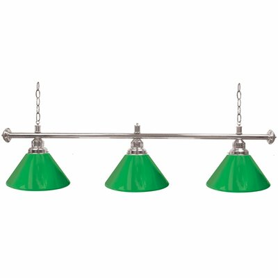 Premium 3-Light Billiard Light Finish: Silver, Shade Color: Green
