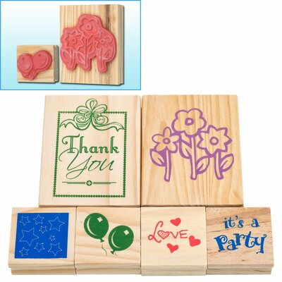 6 Piece Wood Mounted Rubber Stamp Set 80-04106