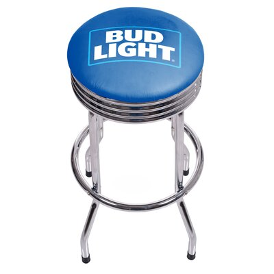 Bud Light Ribbed 28.5 Swivel Bar Stool Finish: Chrome