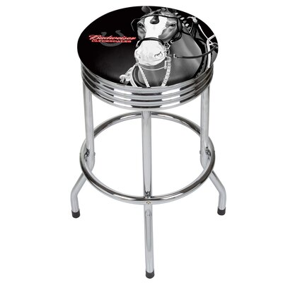 Budweiser Clydesdale Ribbed 28.5 Swivel Bar Stool Finish: Chrome, Upholstery: Red