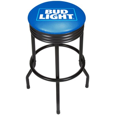 Bud Light Ribbed 28.5 Swivel Bar Stool Finish: Black