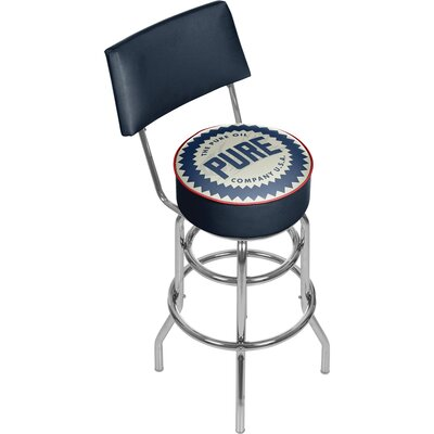 Pure Oil Wordmark Swivel Bar Stool with Back