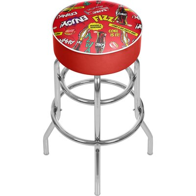 Coca Cola 31 Swivel Bar Stool Upholstery: Red/Yellow