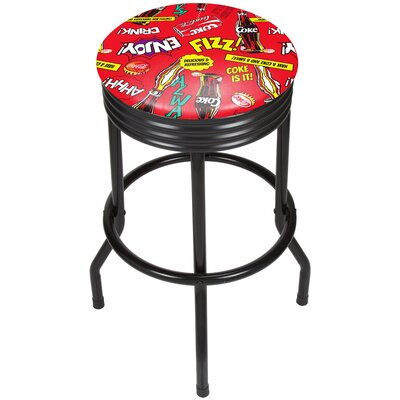 Coca Cola Pop Art 28.5 Swivel Bar Stool Finish: Chrome, Upholstery: Red