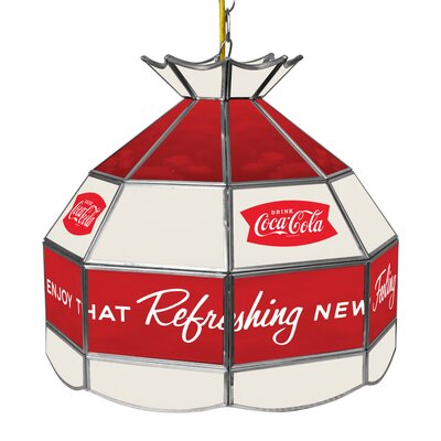 Coca Cola Arc Stained Glass 1-Light Bowl Pendant
