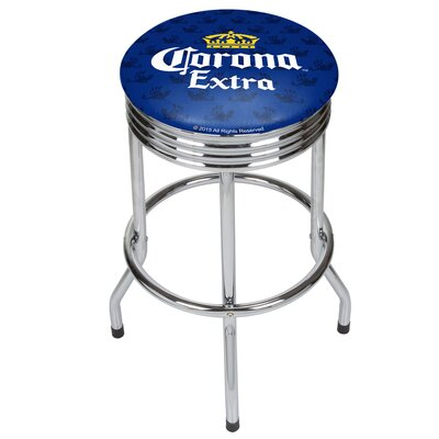 Corona Griffin Ribbed 28.5 Swivel Bar Stool Finish: Chrome, Upholstery: Blue