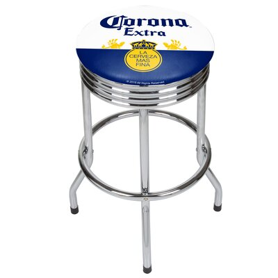 Corona Griffin Ribbed 28.5 Swivel Bar Stool Finish: Chrome, Upholstery: Blue/White
