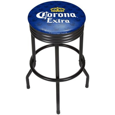 Corona Griffin Ribbed 28.5 Swivel Bar Stool Finish: Black, Upholstery: Blue