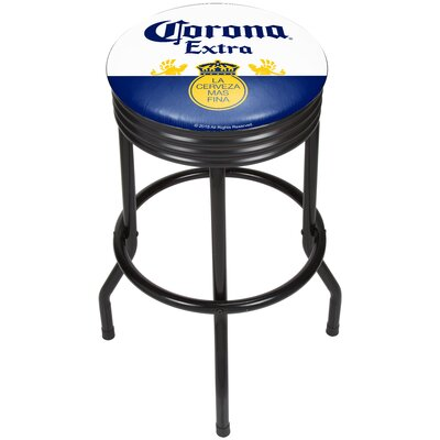 Corona Griffin Ribbed 28.5 Swivel Bar Stool Finish: Black, Upholstery: Blue/White