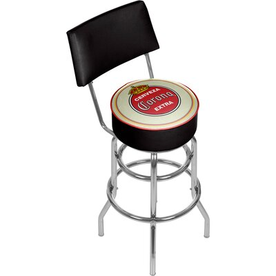 Corona Vintage Swivel Bar Stool with Back